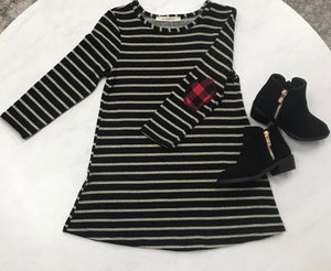 Kids Black striped dress with plaid accents