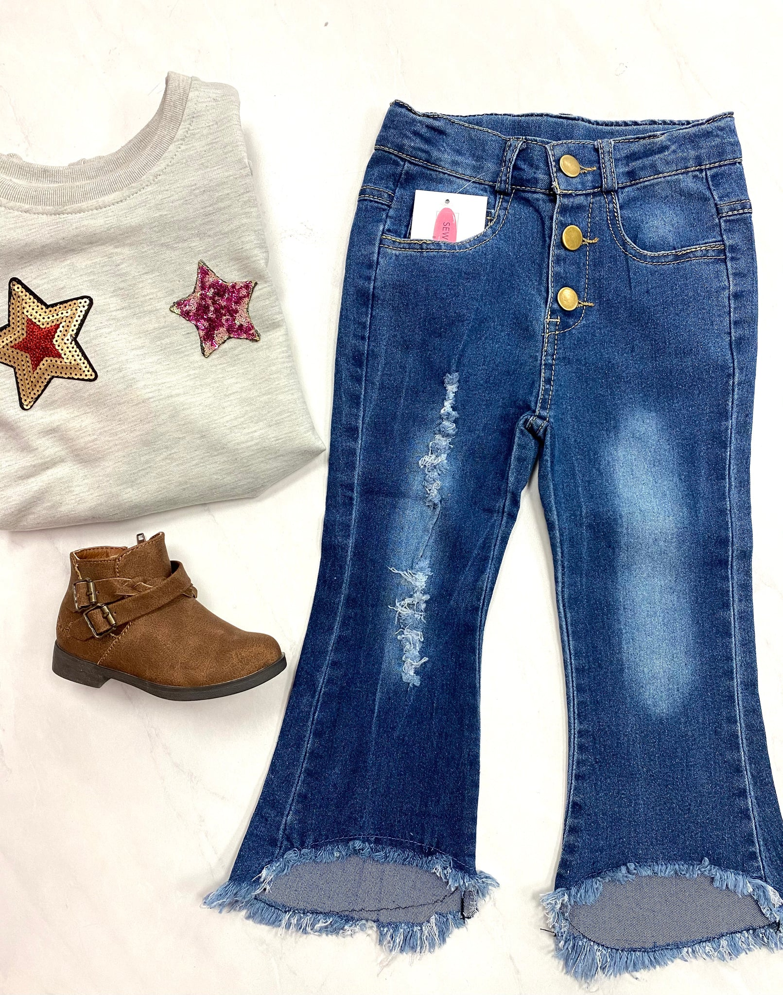 Kids Frayed Distressed Jeans