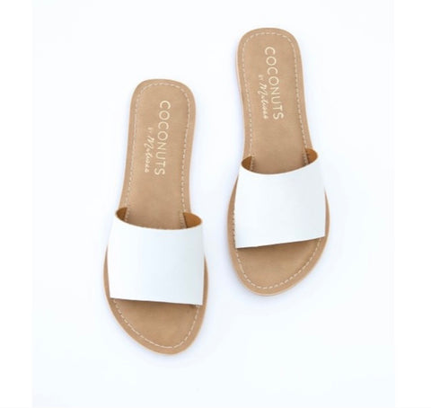 Cabana Slide - White Leather