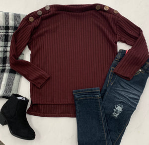 Kids Molly's maroon button detail top