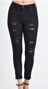 Dilly's curvy girl (plus size) black distressed denim