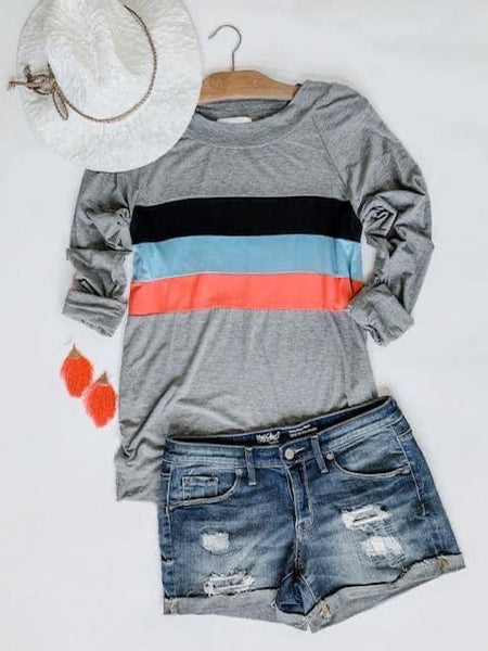 Black, Blue, Coral, & Grey Colorblock Top