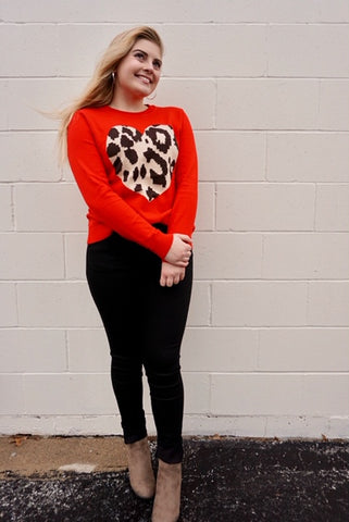 Red HOT sweater with wild heart