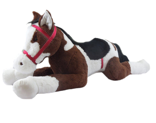 Goffa Stuffed Animal, Brown and White with Black Hair - Royal Jumbo Horse with Bridle and Saddle 48