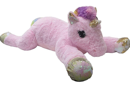 Goffa Stuffed Animal, Pink with Embroidered Eyes - Princess Jumbo Unicorn with Sequins, 51""