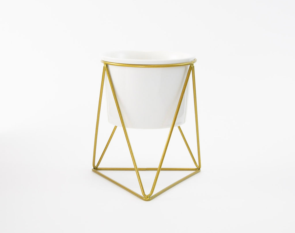 Gold Geometric Base Candle Holder or Plant Stand