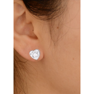 Stamped Paw Stud Earrings
