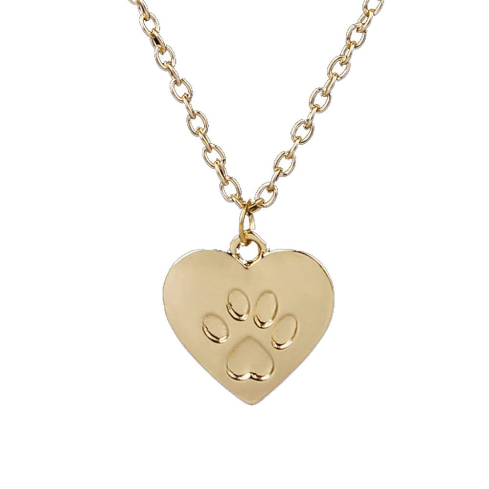 Heart with Paw Print Necklace