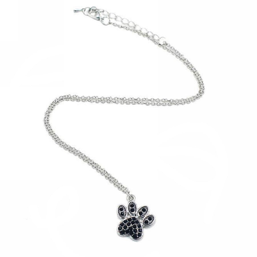Crystal Dog Paw Necklace