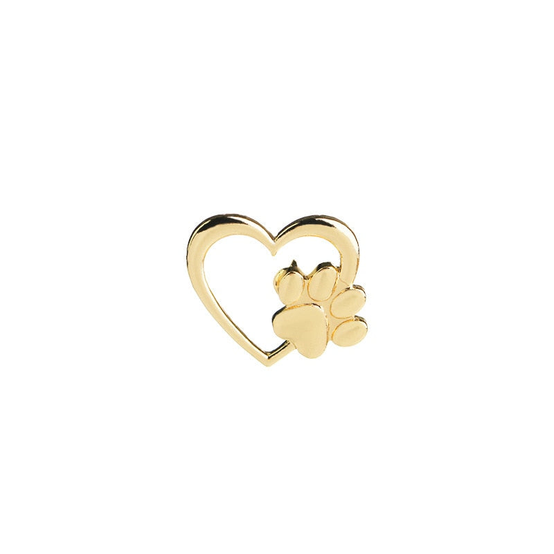 Heart with Paw Brooch Pin