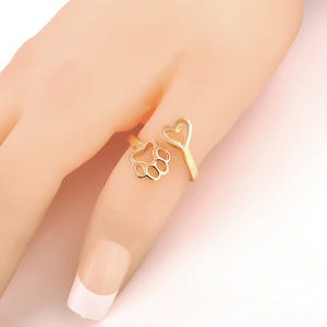 Wrap Paw Heart Ring