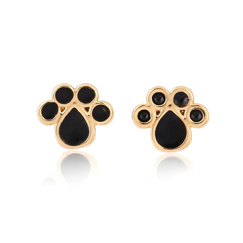 Enamel Paw Stud Earrings