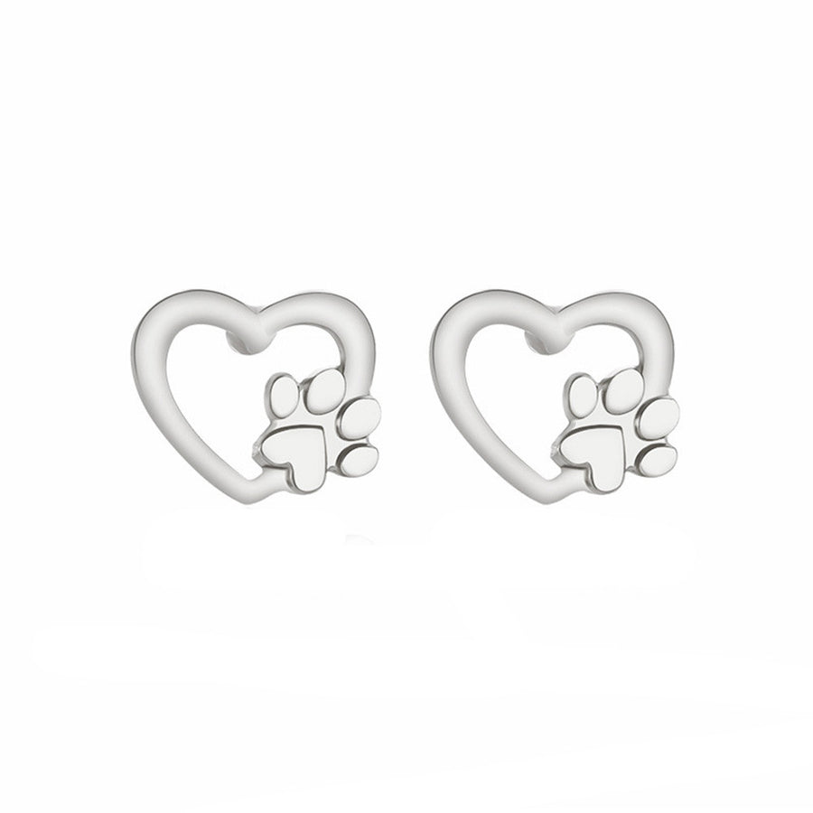 Heart with Paw Earrings