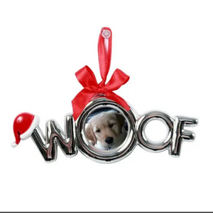Plated WOOF Frame Ornament