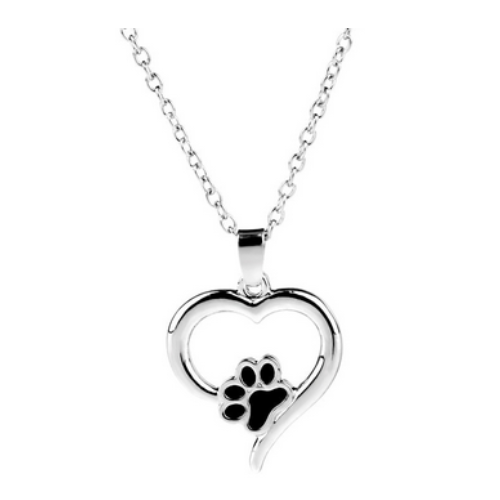 Heart with Paw Curvy Necklace