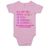 New Farm Park Is The Centre Of The Universe - AS Colour Mini Me - Baby Onesie Romper