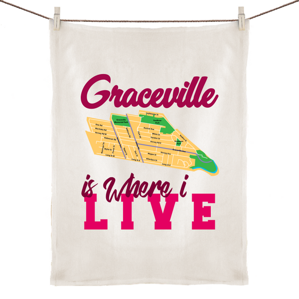 Graceville Is Where I Live - 100% Linen Tea Towel