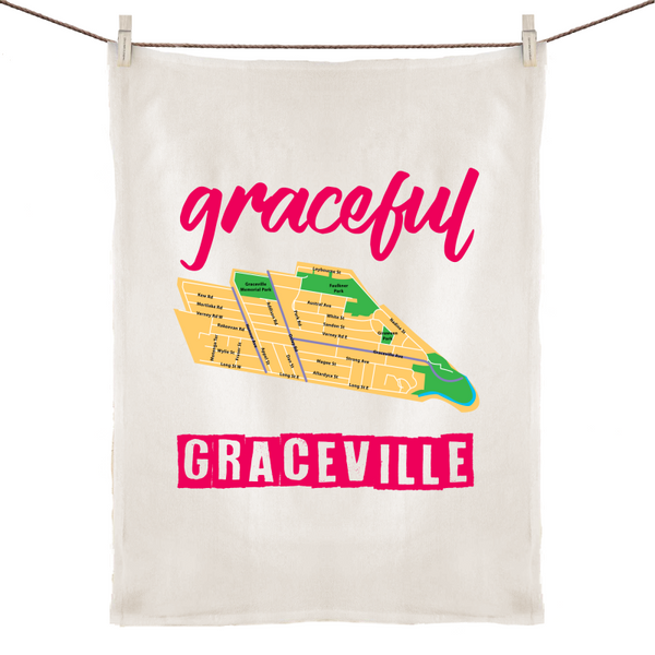 Graceful Graceville - 100% Linen Tea Towel