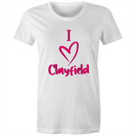 I Love Clayfield - AS Colour Wafer - Womens Crew T-Shirt