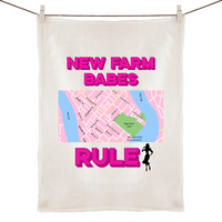 New Farm Babes Rule - 100% Linen Tea Towel