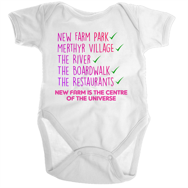 New Farm Park Is The Centre Of The Universe - Ramo - Organic Baby Romper Onesie