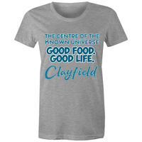 Clayfield Centre Of The Known Universe - AS Colour Wafer - Womens Crew T-Shirt