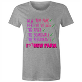 I Love New Farm - AS Colour Wafer - Womens Crew T-Shirt