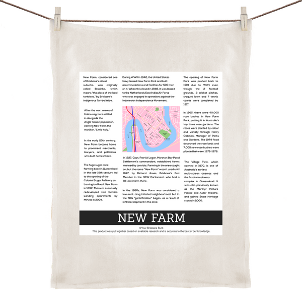 New Farm History - 100% Linen Tea Towel