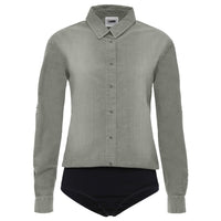 (WB02L02N14-J30)Blouse-Style Chambray Leotard Grey