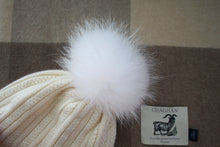 Load image into Gallery viewer, Ski Hat with Detachable PomPom - Natural White
