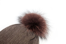 Load image into Gallery viewer, Ski Hat with Detachable PomPom - Rich Chocolate