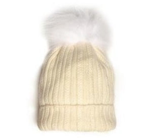Ski Hat with Detachable PomPom - Natural White