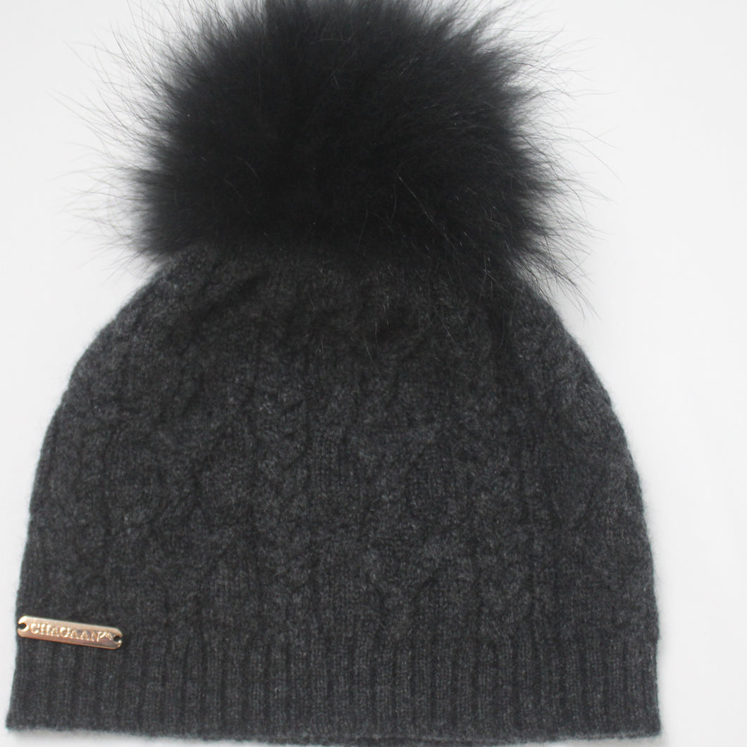 Ski Hat with Detachable PomPom - Charcoal