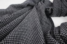 Load image into Gallery viewer, Travel Wrap | Grey/Black Herringbone