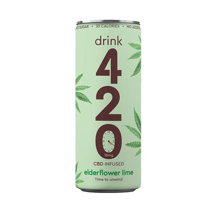 CBD infused sparkling Elderflower & Lime. 250ml Slimline Can