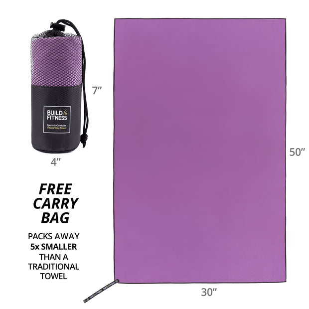 Purple Microfiber Towel - Build and Fitness