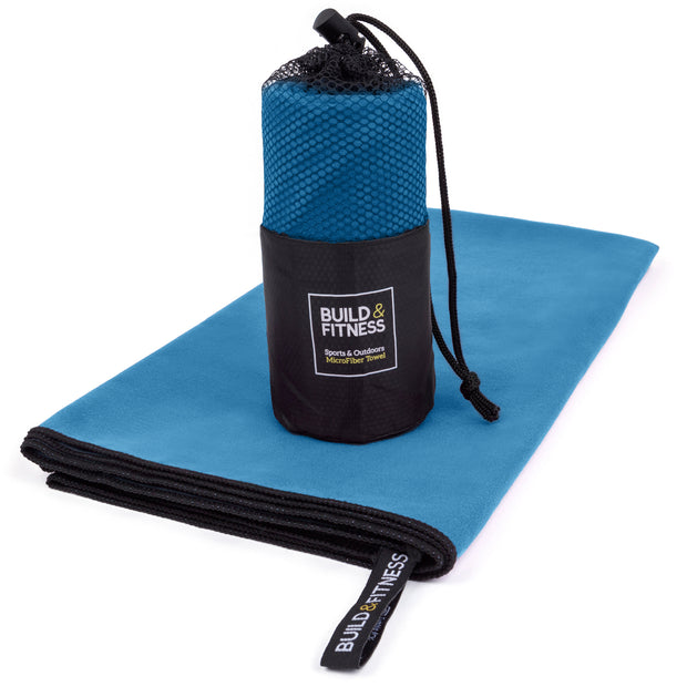 Blue Microfiber Towel - Build and Fitness