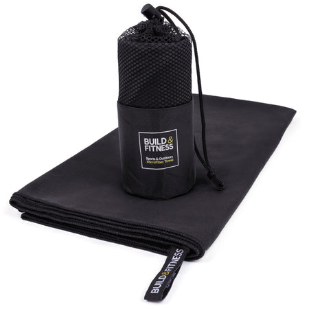 Black Microfiber Towel - Build and Fitness