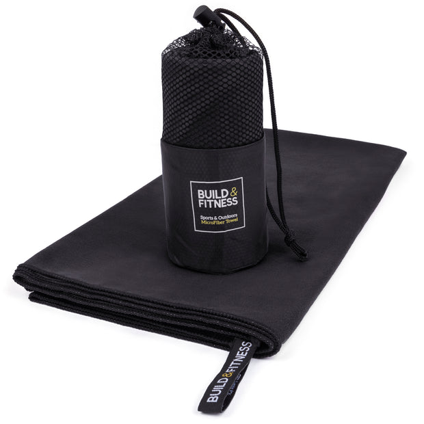 Black Microfiber Gym, Beach & Travel Towel. Large