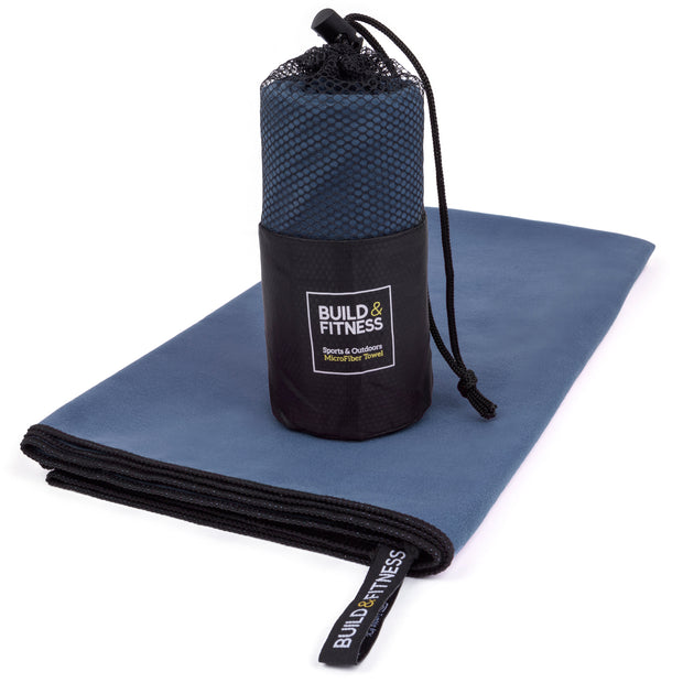 Navy Microfiber Gym, Beach & Travel Towel. Large