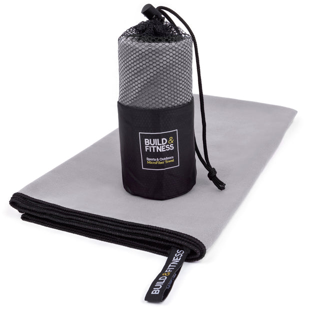 Gray Microfiber Gym, Beach & Travel Towel. Large