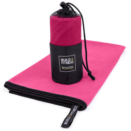 Pink Microfiber Gym, Beach & Travel Towel. Large