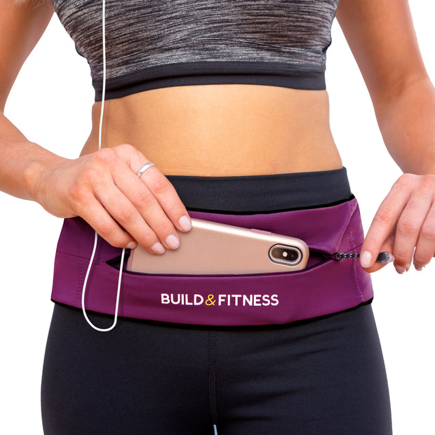 Ruby Red Adjustable Zipper Running Belt - Build and Fitness