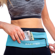 Aqua Blue Adjustable Zipper Running Belt - Build and Fitness