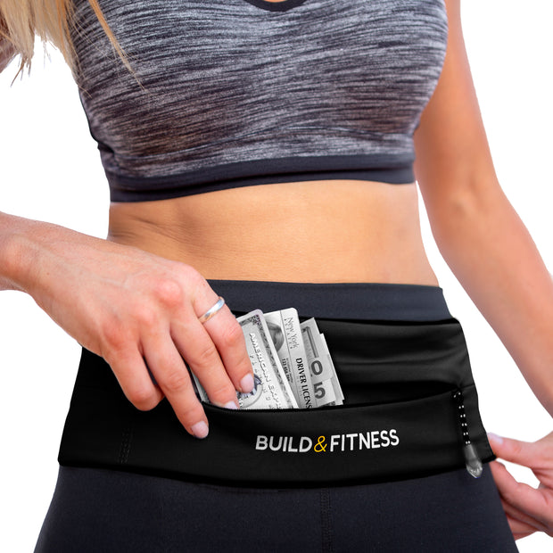 Black Adjustable Zipper Running Belt - Build & Fitness®