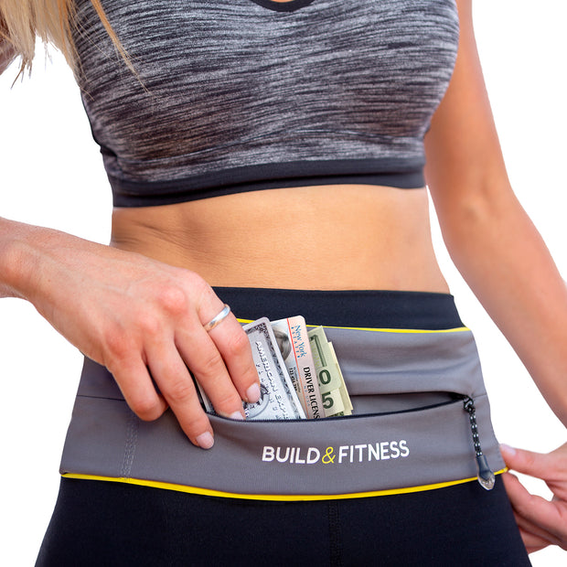Gray Adjustable Zipper Running Belt - Build and Fitness