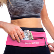 Hot Pink Adjustable Zipper Running Belt - Build and Fitness