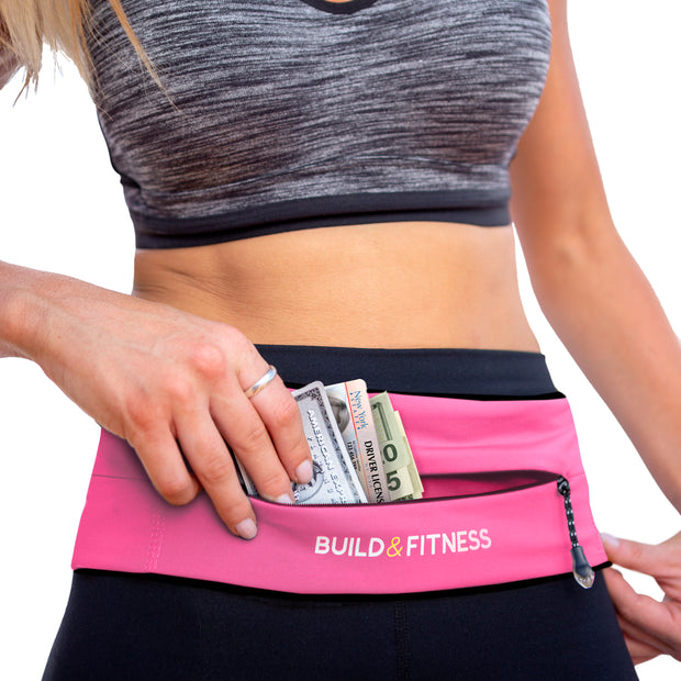 Hot Pink Adjustable Zipper Running Belt - Build & Fitness®