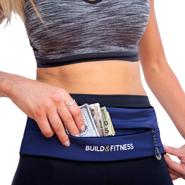 Midnight Blue Adjustable Zipper Running Belt - Build and Fitness