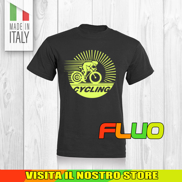 T SHIRT MAGLIA FLUO BIKE DOWNHILL BIKER 19 CYCLE MTB BICI IDEA REGALO UOMO DONNA